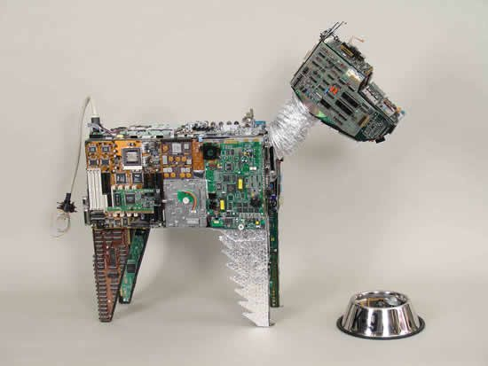 Sculpture of a dog made from recycled Electronics. Great e-waste reuse example.