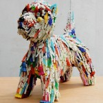 Recycled Toys Made Into Dog Sculptures