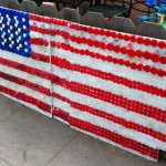 American Flag Made With Bottle Caps From The Beach