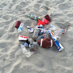 10 square feet of primary fast food wrappers on the beach